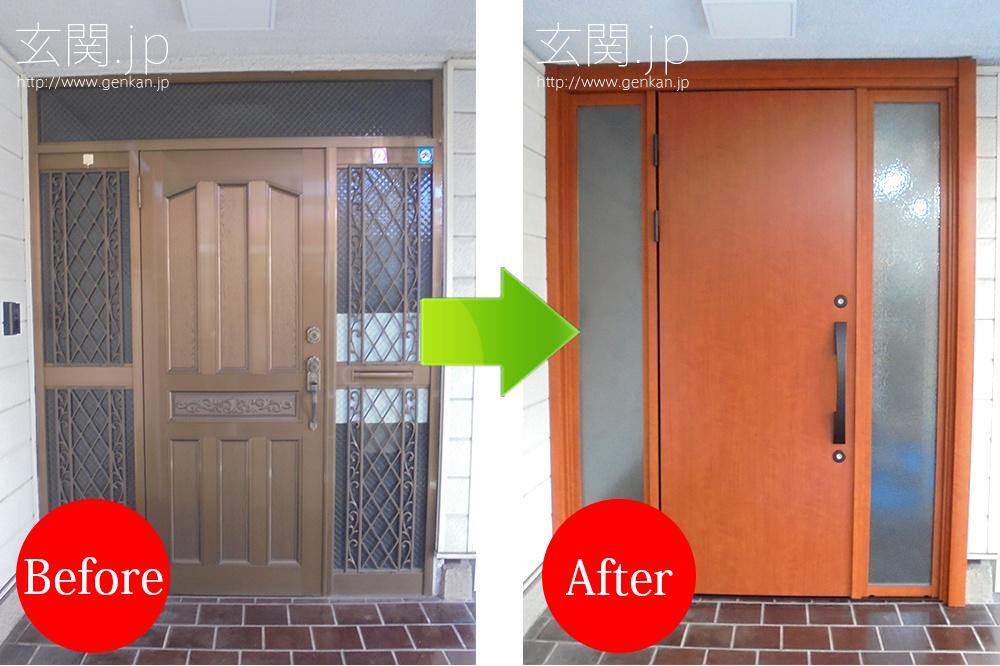 東芝メイゾンの古くなった玄関をカバー工法によりリフォーム