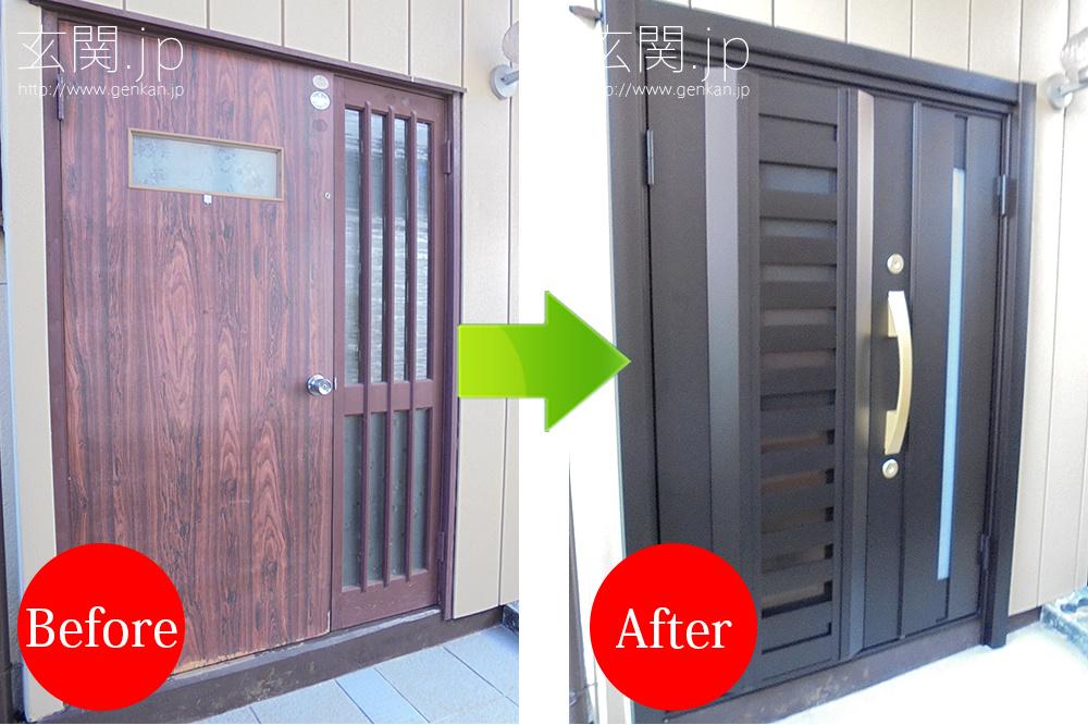 玄関カバー工法による交換の事例_採風湿気対策ドア
