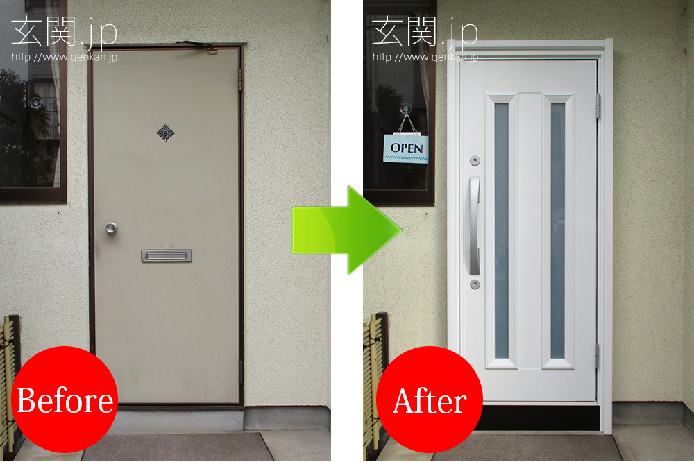 ホワイト白色の玄関ドア
