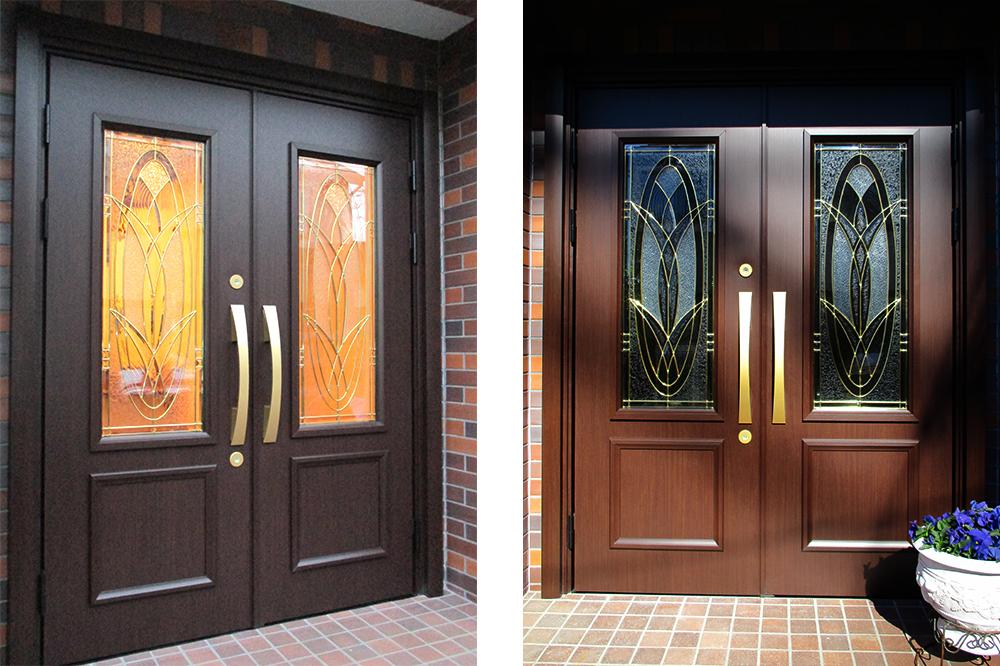 ステンドグラスの玄関ドア詳細