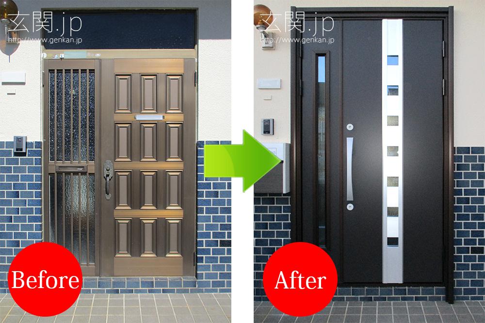 ホットブラウン色の玄関ドア交換