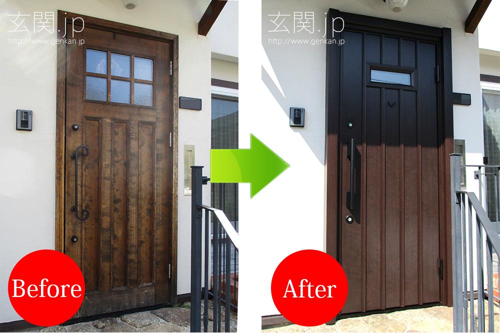 輸入ドアの玄関ドアの交換事例2016年