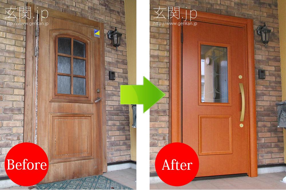 輸入玄関ドア(木造)のドア交換例