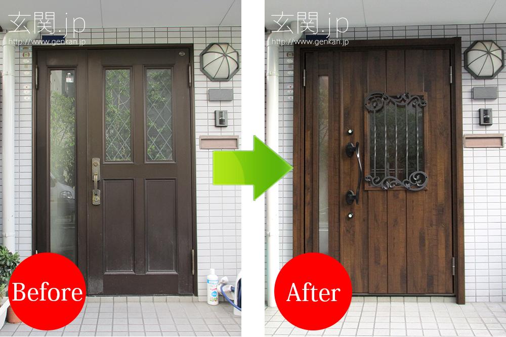 リクシル リシェント2 C42型の玄関ドア交換施工例