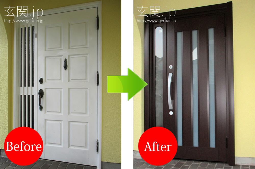 ホワイトの玄関から木目調の玄関へ交換
