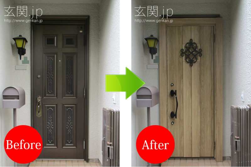 リクシルのシュガーオーク色の玄関ドア