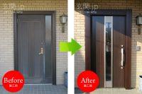 神奈川県K様邸 玄関ドア交換 リクシル リシェント3 【M77】 片開きドア クリエダーク色 *大成パルコン