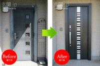 神奈川県B様邸 玄関ドア交換 リクシル リシェント3 【G82】 片開きドア クリエダーク色 *積水ハウス