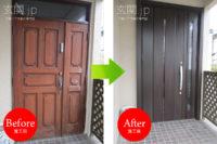 千葉県N様邸 玄関ドア交換 リクシル リシェント3 【M12】 親子ドア クリエダーク色
