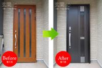 東京都M様邸 玄関ドアリフォーム リクシル リシェント3 【M83 採風】 片開きドア トリノパイン色