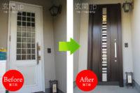 神奈川県W様邸 玄関ドア交換 リクシル リシェント3【G82 採風】片開きドア クリエダーク色