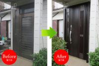 埼玉県K様邸 玄関ドア交換 リクシル リシェント3 【M83 採風】 親子ドア クリエダーク色