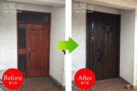 大阪府K様邸 玄関ドア交換 リクシル リシェント3【D77】親子ドア アンティークオーク色